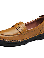 Women's Shoes Leather Flat Heel Comfort Loafers Office & Career / Dress / Casual Black / Brown