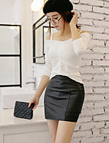 Women's Solid Black Skirts , Bodycon Mini