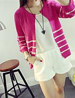 Women's Striped Blue / Pink / Red / Black / Beige Cardigan , Casual / Cute Long Sleeve