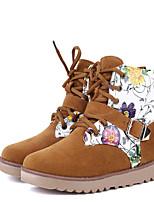 Zapatos de mujer - Tacón Bajo - Punta Redonda - Botas - Casual - Semicuero - Negro / Amarillo