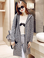 Women's Letter Gray Hooded Cardigan , Casual Long Sleeve