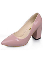 Women's Shoes Patent Leather Chunky Heels / Pointed Toe /  Heels Outdoor / Office & Career / Casual Black / Pink / Red