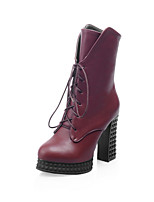 Women's Shoes Leatherette Chunky Heel Heels / Round Toe Boots Outdoor / Office & Career / Casual Black / Blue / Burgundy