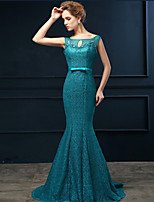Formal Evening Dress - Ocean Blue Trumpet/Mermaid Scoop Sweep/Brush Train Lace