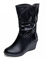 Women's Shoes Leather Wedge Heel Combat Boots Boots Party & Evening / Dress / Casual Black