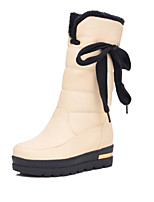 Women's Shoes Leatherette Wedge Heel Wedges / Round Toe Boots Outdoor / Office & Career / Casual Black / Beige / Orange