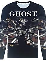 CliffWalker Men's skull design 3 d digital printing round neck long sleeve T-shirt
