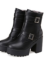 Women's Shoes Leatherette Chunky Heel Platform / Fashion Boots Boots Dress / Casual Black / Burgundy