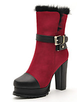 Women's Shoes Synthetic Chunky Heel Fashion Boots / Comfort Boots Office & Career / Casual Blue / Red