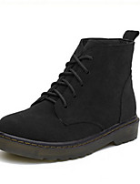 Women's Shoes Suede Flat Heel Round Toe Boots Casual Black / Brown