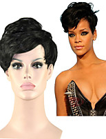 Capless New Arrival Rihanna Style Black 1B Color Short Straight Synthetic Hair Wigs Wig Natural Sexy Daily Wigs
