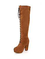 Women's Shoes Chunky Heel Round Toe / Closed Toe Boots Office & Career / Dress / Casual Black / Brown / Red / Taupe