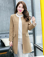 Women's Solid Blue / Red / Yellow Coat , Casual Long Sleeve Tweed