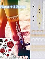 Tatuaggi adesivi - Serie gioielli Da donna/Da uomo/Adulto/Teen - 5 - Modello - di Carta - 23*15.5*0.3CM - Oro/Nero/Argento -