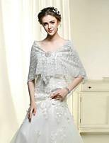 Wedding / Party Wraps Bride Elegant Embroidery Shawls Cotton / Lace Silver