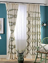 (Two Panels)Modern Olive Branch Embroidered Linen/Cotton Blend Energy Saving Curtain(Sheer Not Included)