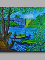 prêt à accrocher étiré toile de peinture à l'huile peinte à la main abstraite Van Gogh arbres bateaux repro un panneau