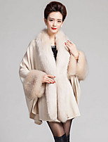 Women Faux Fur Shawl & Wrap , Without Lining