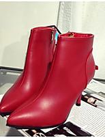 Zapatos de mujer - Tacón Stiletto - Puntiagudos - Botas - Casual - Semicuero - Negro / Rojo