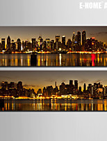E-HOME® Stretched Canvas Art Seaside City Night Decoration Painting  Set of 2