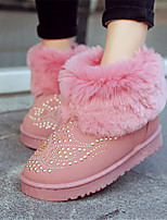 Women's Shoes Low Heel Round Toe Boots Casual Black / Brown / Pink