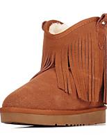 Zapatos de mujer - Tacón Plano - Comfort / Botas de Nieve - Botas - Oficina y Trabajo / Casual - Ante - Marrón / Amarillo / Gris