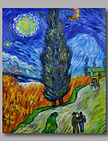 prêt à accrocher étiré peinture à l'huile peinte à la main toile de Van Gogh route repro avec crypress et nuit étoilée un panneau