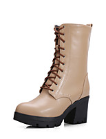 Women's Shoes Chunky Heel Motorcycle Boots / Round Toe Boots Dress Black / Beige