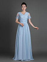 Sheath/Column Mother of the Bride Dress - Sky Blue Sweep/Brush Train Chiffon / Lace