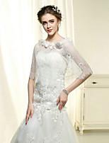 Wedding Wraps Bride Elegant Flowers Shawls Cotton / Lace White