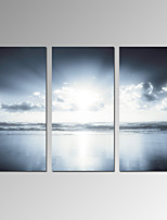 VISUAL STAR®Sunrise upon Sea Stretched Canvas Modern Home Decor Art Set of 3 Ready to Hang