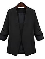 Women's Solid Black Blazer , Work / Plus Sizes Notch Lapel Long Sleeve