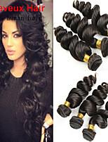 3Bundles 8-26inch Brazilian Virgin Hair Loose Wave  Color 1B# Unprocessed Raw Virgin Human Hair Weaves Hot Sale.