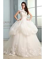 웨딩 드레스 - 아이보리(색상은 모니터에 따라 다를 수 있음) 볼 가운 채플 트레인 하이넥 오르간자