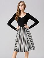 Women's Print / Striped White Skirts , Casual / Print Knee-length