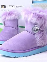 Chaussures Femme - Habillé / Décontracté / Soirée & Evénement - Noir / Bleu / Rose / Violet - Talon Plat - Bottes de Neige - Bottes - Cuir