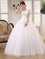 Ball Gown Wedding Dress - White Floor-length One Shoulder Lace / Satin / Tulle