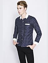 Men's Long Sleeve Shirt , Cotton Casual / Work / Formal Print