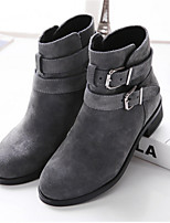 Women's Shoes Suede Low Heel Round Toe Boots Casual Black / Gray