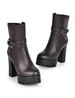 Women's Shoes Leatherette Chunky Heel Combat Boots Boots Casual Black / Brown / Yellow