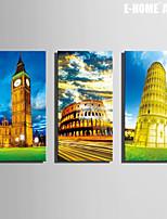 E-HOME® Stretched Canvas Art Famous European Architecture Decoration Painting  Set of 3