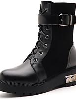 Zapatos de mujer - Tacón Plano - Botas Anfibias - Botas - Vestido / Casual / Fiesta y Noche - Cuero - Negro / Bermellón