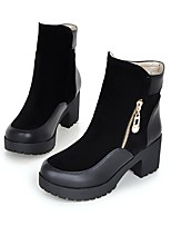 Women's Shoes Fleece Chunky Heel Motorcycle Boots / Round Toe Boots Dress / Casual Black / Brown / Red