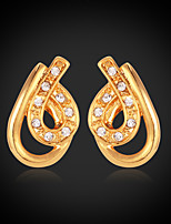 Instyle 18K Chunky Gold Plated Studs Rhinestone Earrings High Quality
