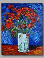 prêt à accrocher étiré toile de peinture à l'huile peinte à la main abstraite Van Gogh repro coquelicots rouges fleurs un panneau