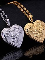 InStyle New Vintage Rose Flower Heart Photo Locket Pendant Floating Lockets 18K Gold Platinum Plated Necklace