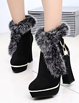 Women's Shoes Vogue Sexy Rabbit Fur Chunky Heel Round Toe Boots Casual