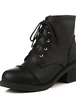 Women's Shoes Leatherette Chunky Heel Round Toe Boots Casual Black / Beige