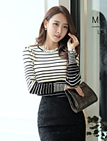 Korelinda ® Women's Striped White / Black Pullover , Casual / Cute / Party / Plus Sizes Long Sleeve 1837