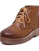Zapatos de mujer - Tacón Bajo - Botines - Botas - Casual - Semicuero - Marrón / Gris